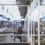 De laatste trein, 1.00 x 1.00 m, acryl op linnen, 2010. Verkocht.