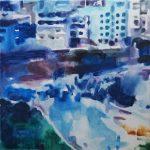 Geen uitweg # 1, 2012,acryl op linnen, 50 x 50 cm.