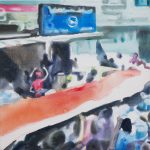 Ongewenst # 4, 2012, acryl op linnen, 50 x 50 cm.
