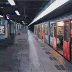 Metro in het donker 2, 1.00 x 1.00 m, acryl op linnen, 2010.
