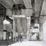 Onder station Kraaiennest, 2009, Oost Indische inkt opp zuurvrij papier, 75 x 75 cm. Verkocht.
