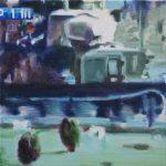 Ongelijke strijd # 3, 2013, acryl op linnen, 50 x 50 cm.