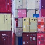 Colors of trade # 7, 50 x 50 cm, acryl op linnen, 2017. Verkocht.